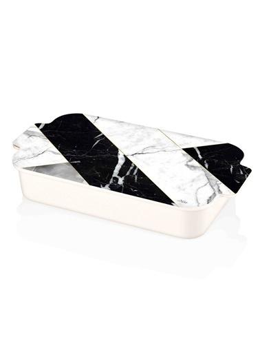 The Mia Melamin Kahvaltılık - Marble Siyah Siyah